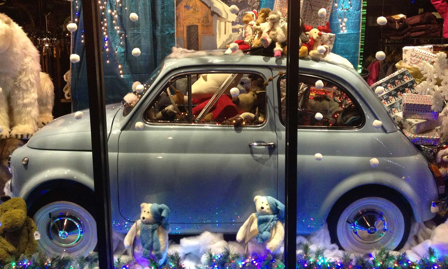 In Christmas 2017 Anna Davies Christmas window featured a powder blue Fiat 500